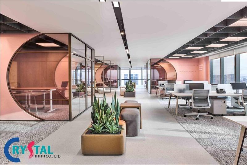 trang trí văn phòng làm việc nhỏ - Crystal Design TPL
