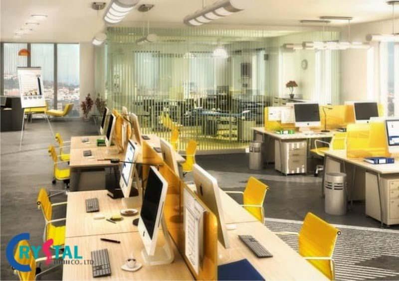 mô hình văn phòng hiện đại không gian mở - Crystal Design TPL