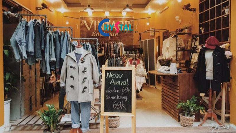 ý tưởng thiết kế shop thời trang nam - Crystal Design TPL
