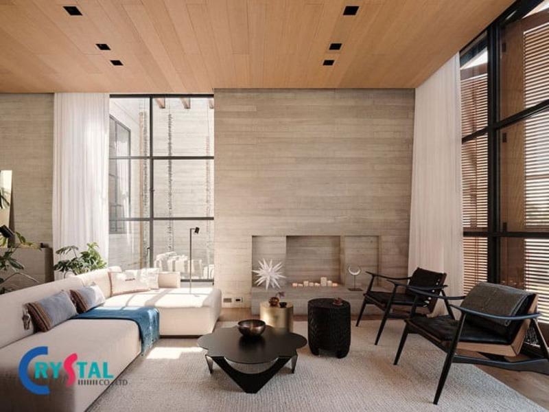 phong cách thiết kế nội thất thô mộc - Crystal Design TPL