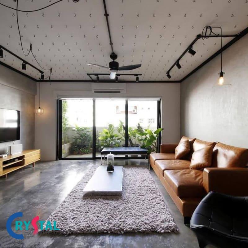 phòng khách phong cách urban