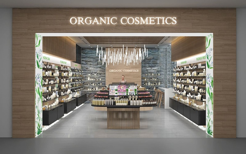 cách trang trí cửa hàng mỹ phẩm - Crystal Design TPL
