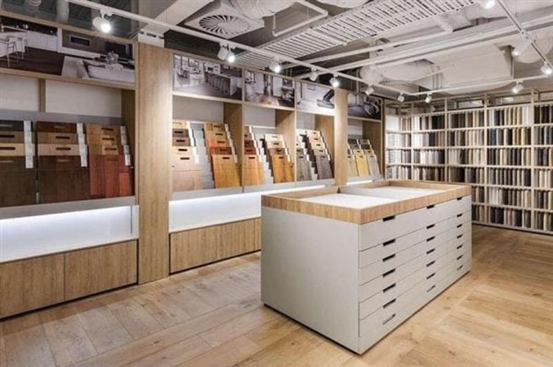 mẫu showroom trưng bày gạch ốp lát đẹp - Crystal Design TPL