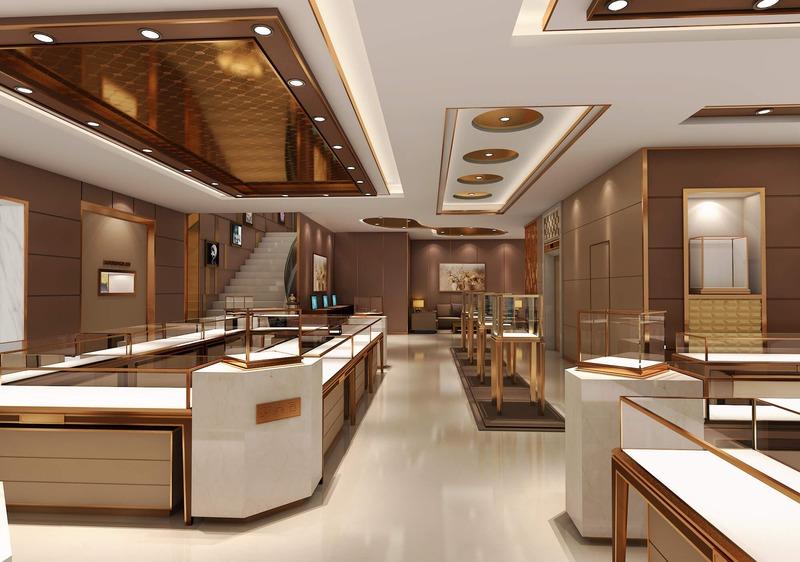 mẫu thiết kế cửa hàng trang sức sang trọng - Crystal Design TPL