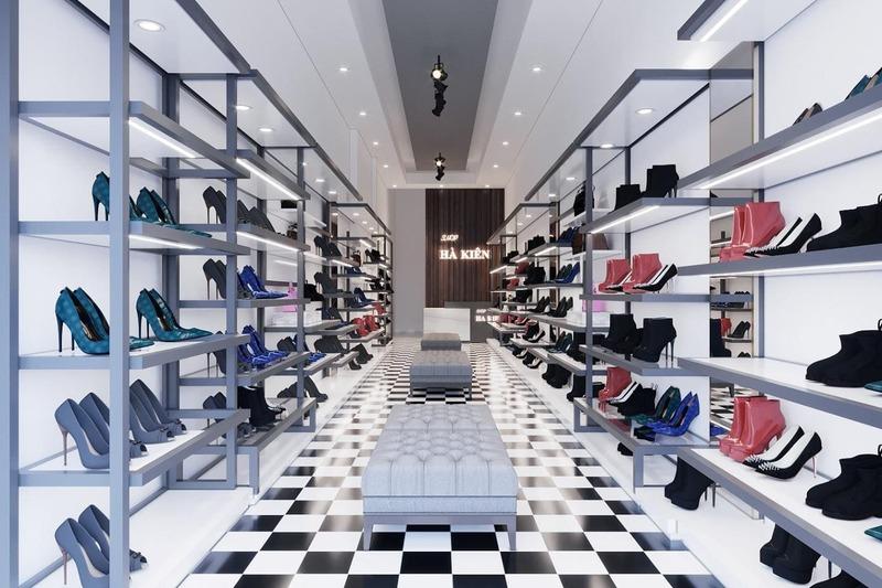 mẫu thiết kế thi công cửa hàng giày dép - Crystal Design TPL