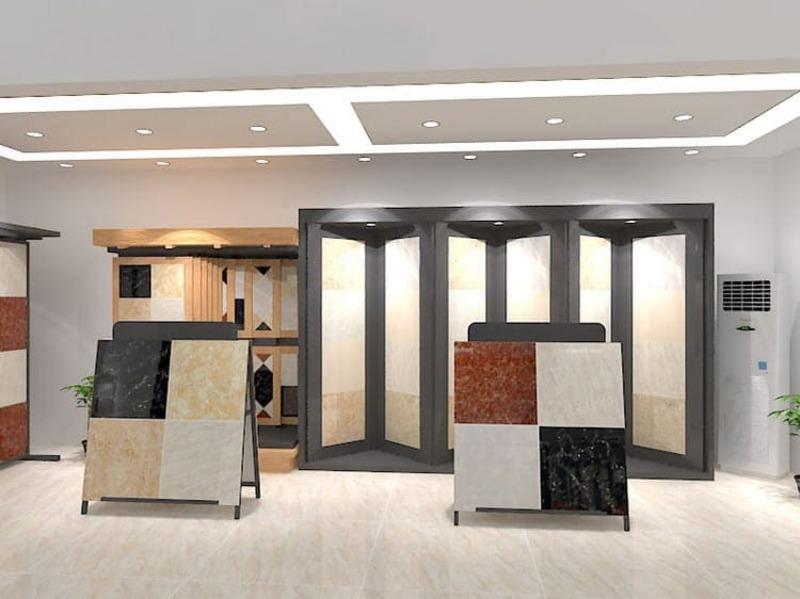 thiết kế showroom gạch men ốp lát đẹp - Crystal Design TPL