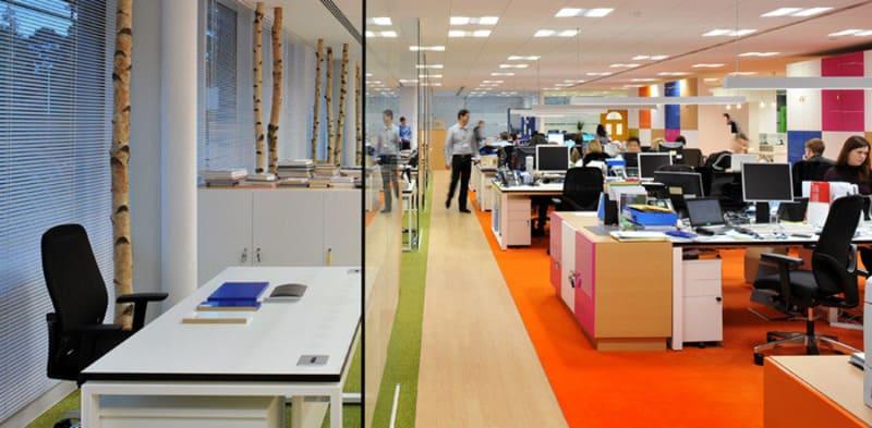 Mẫu thiết kế văn phòng đa sắc màu