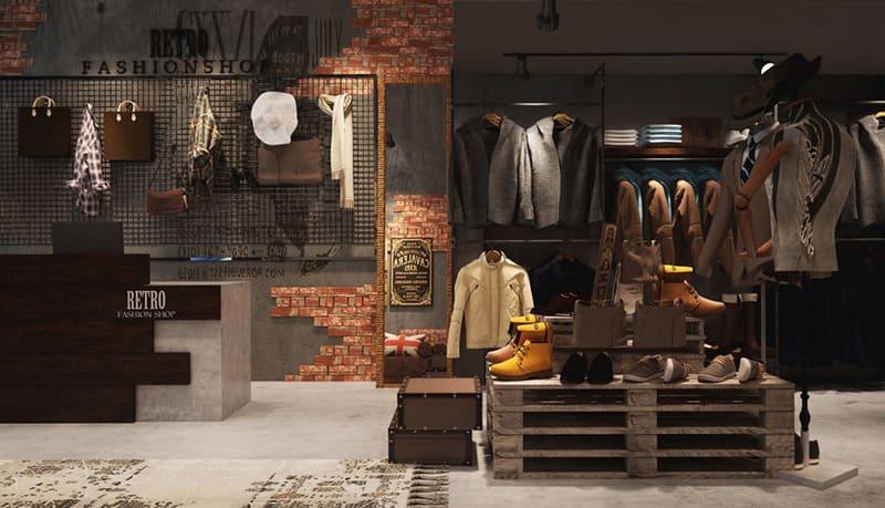 Thiết kế dạng tường gạch và xi măng của phong cách công nghiệp